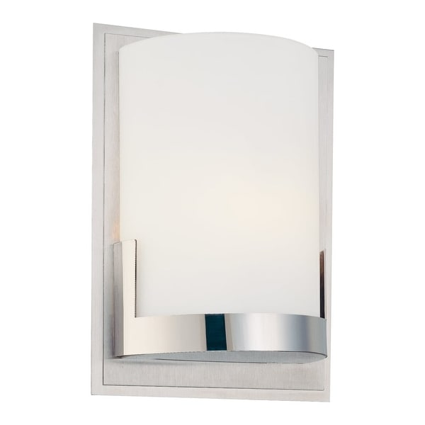 """Kovacs P5951 Convex 1-Light 5"""" Wide Bathroom Sconce with Etched Opal Shade - ADA Compliant - Chrome"""
