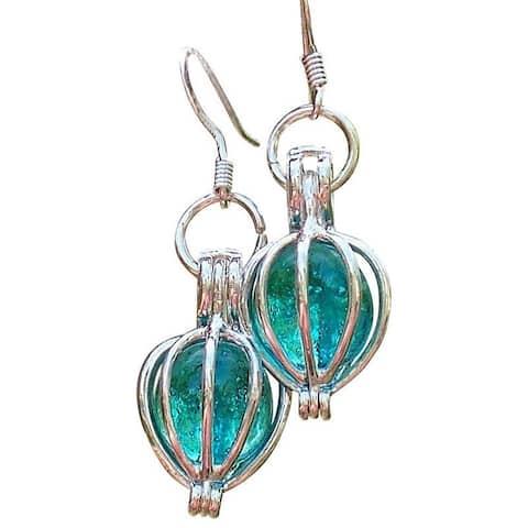 Handmade Recycled Antique Mason Jar Silver Drop Earrings