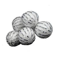 3.75 in. 6  White & Silver Shatterproof Christmas Ball Ornaments