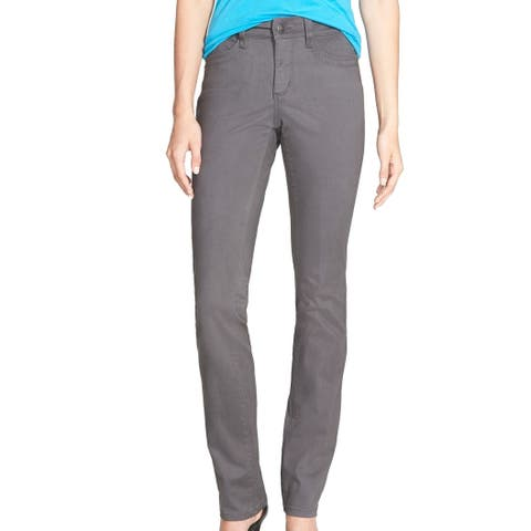NYDJ Womens Pants Graphite Gray Size 14 Samantha Slim-Fit Stretch