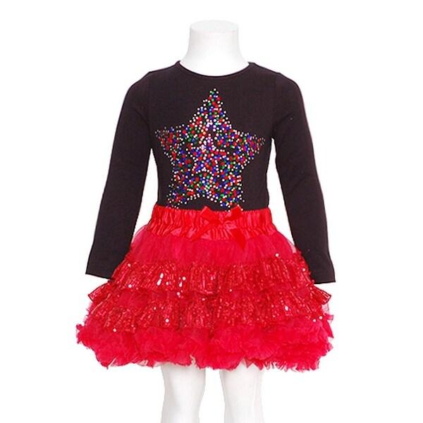 6b6c11965f Shop GiGi Girls 12M Black Red Sequined Star 2pc Top Tutu Skirt ...