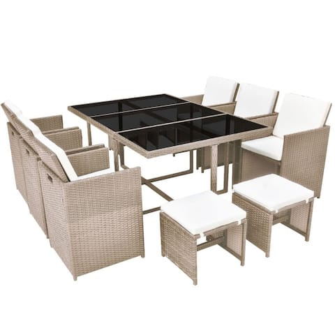 vidaXL 11 Piece Outdoor Dining Set with Cushions Poly rattan Beige