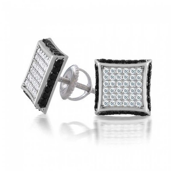 920026e16 Shop Square CZ Micro Pave Cubic Zirconia Black White Kite Stud For Men For  Women Stud Earrings 925 Sterling Silver 9mm - On Sale - Free Shipping On  Orders ...