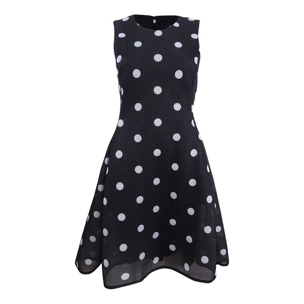 f49eb78f835 Shop DKNY Women s Polka Dot Scuba-Mesh Fit   Flare Dress (6