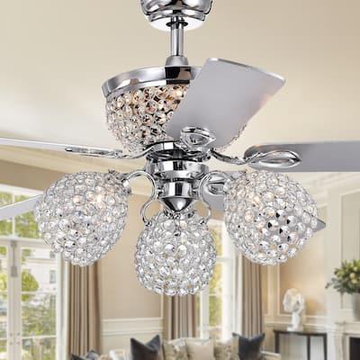 Jasper Silver 52-inch Lighted Crystal Ceiling Fan - 52 W x 22.52 H - Ø 52 x H 22.52