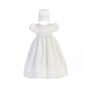 Baby Girls White Square Pattern Giselle Hat Christening Dress