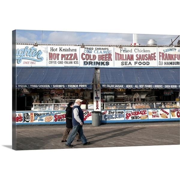 """""""Shops on the Coney Island boardwalk, Brooklyn, NYC"""" Canvas Wall Art"""