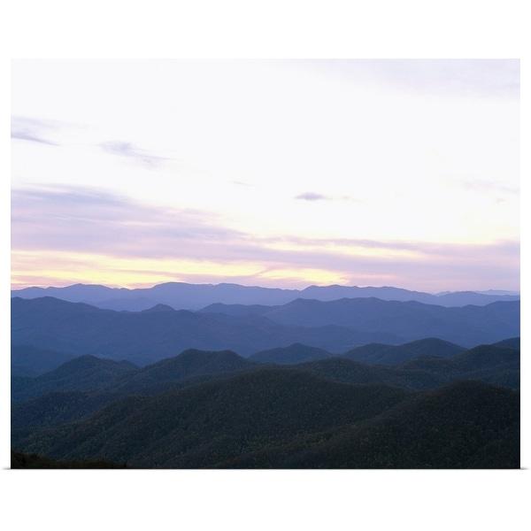 """Silhouette of a mountain range at dawn, Cherokee, Swain County, North Carolina"" Poster Print"