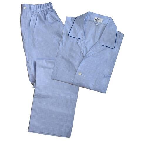 Brioni Mens Solid Light Blue Pajamas