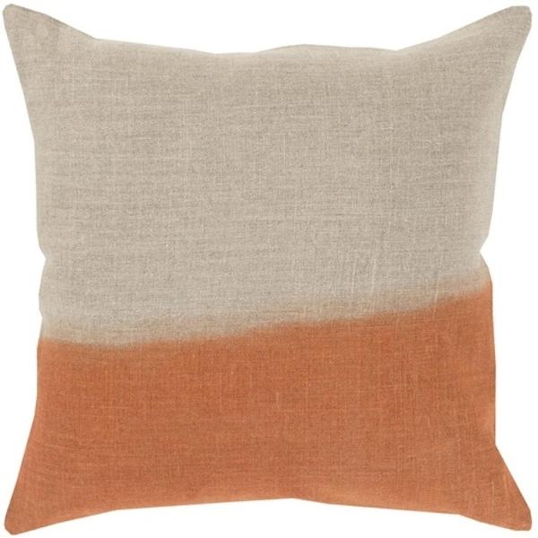 "18"" Burnt Orange and Gray Dip Dyed Decorative Throw Pillow - Down Filler"