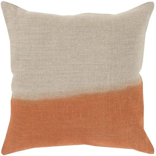 "22"" Burnt Orange and Gray Dip Dyed Decorative Throw Pillow - Down Filler"
