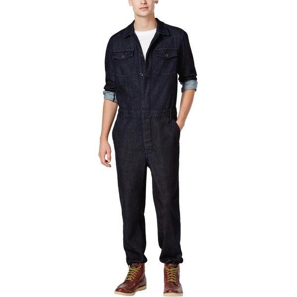 62c9821a39ea Guess Mens Denim Jumpsuit Button Front Dark Rinse Blue Small Coveralls  Overalls - S