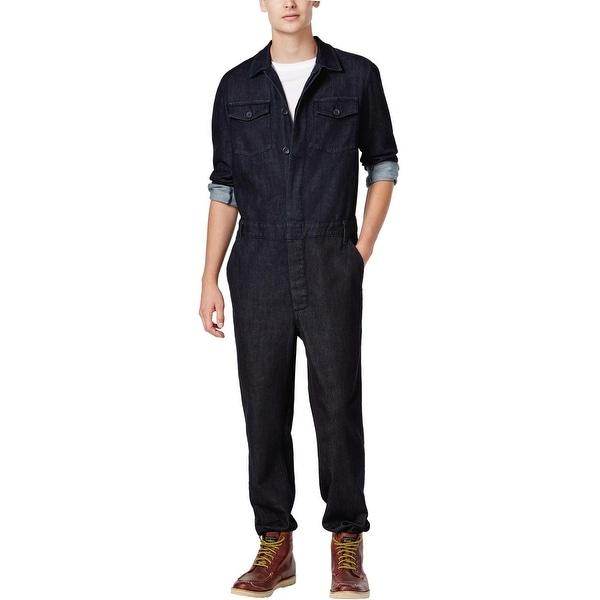 ed782cdcf47e Guess Mens Denim Jumpsuit Button Front Dark Rinse Blue Small Coveralls  Overalls - S