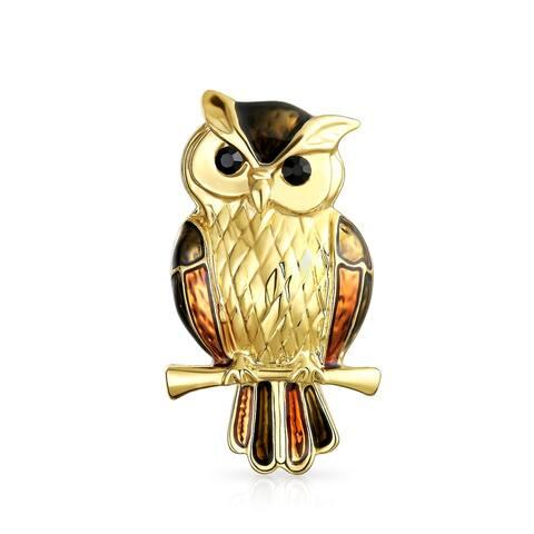 Golden Brown Enamel Owl Bird on Branch Brooch Pin Gold Plated Alloy