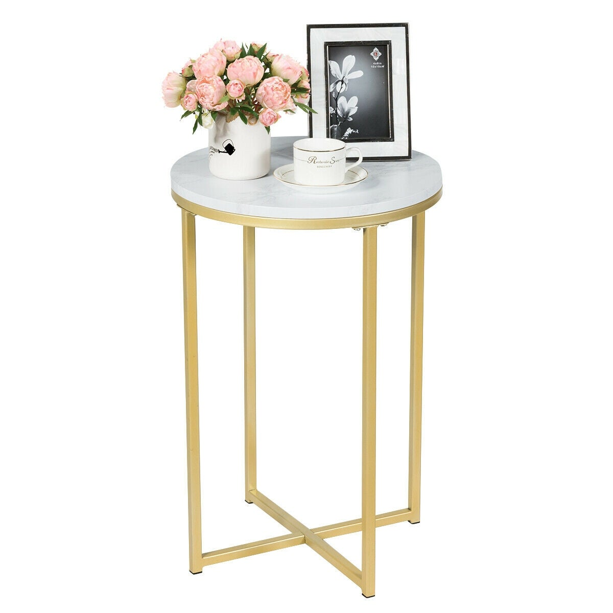 Gymax Modern Round Side End Coffee Table Nightstand Faux Marble Top w/Metal Frame - as pic