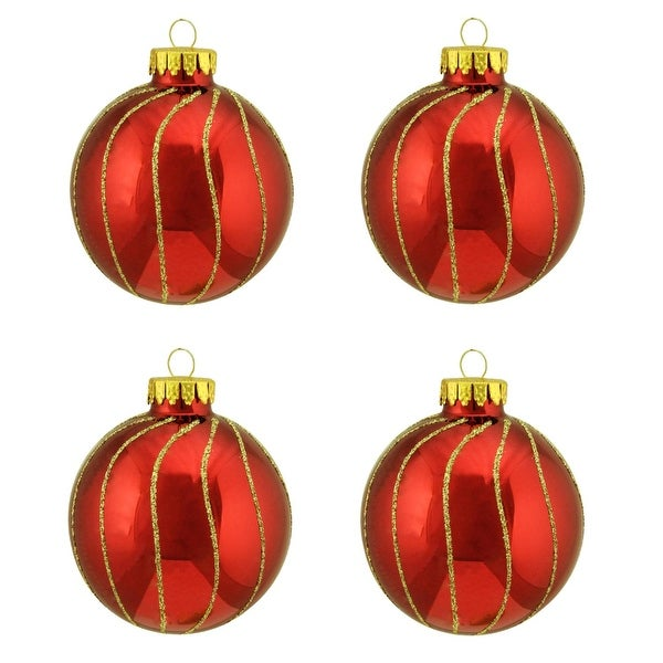 "4ct Shiny Red with Gold Striped Design Glass Ball Christmas Ornaments 2.5"" (65mm)"