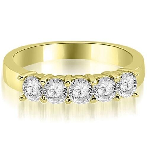 0.75 cttw. 14K Yellow Gold Round Diamond Classic 5-Stone Prong Wedding Band