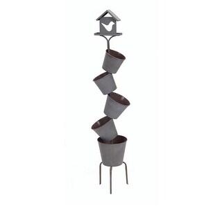 """41.75"""" Five Tier Metal Off-Set Planter Pots with Decorative Birdhouse Topper"""