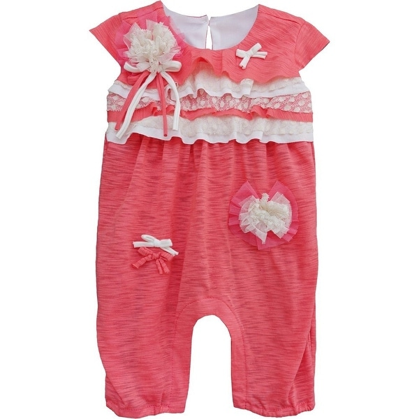Isobella & Chloe Baby Girls Coral Carnation Kisses Ruffle Romper 3M-24M