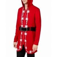 American Rag Red Mens Size Medium M Santa Hooded Full Zip Sweater