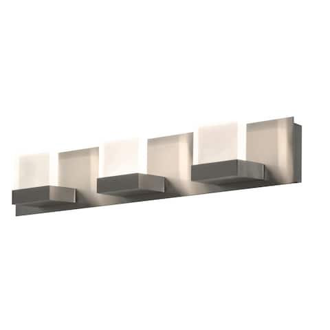 Arlo 3-light ADA Satin Nickel LED Vanity, Frosted Acrylic Shade