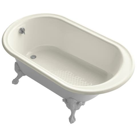 """Kohler K-710-W Iron Works Collection 66"""" Clawfoot Bath Tub with White Exterior"""