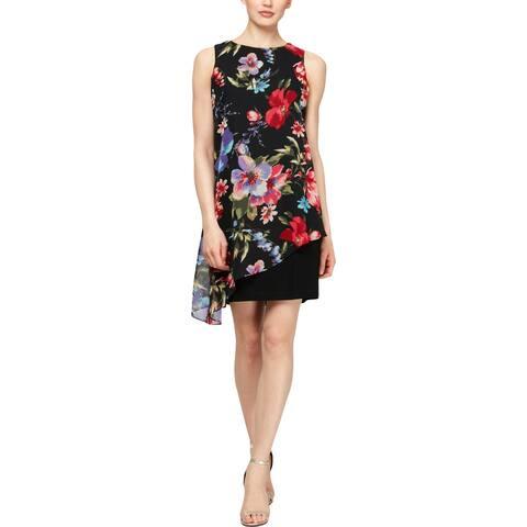 SLNY Womens Mini Dress Floral Print Asymmetric - Black Multi - 10