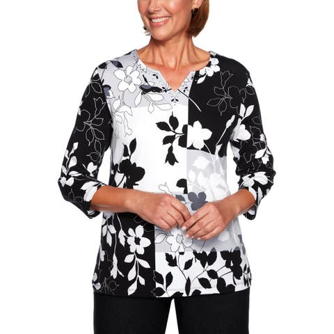 Alfred Dunner Womens Knit Top Floral Embellished