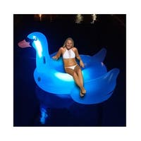 "75"" Giant LED Lighted Color Changing Swimming Pool Ride-On Swan Float Lounger - Multi"