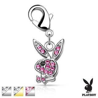 CZ Pave Playboy Bunny Charm with Lobster Claw (Sold Ind.)