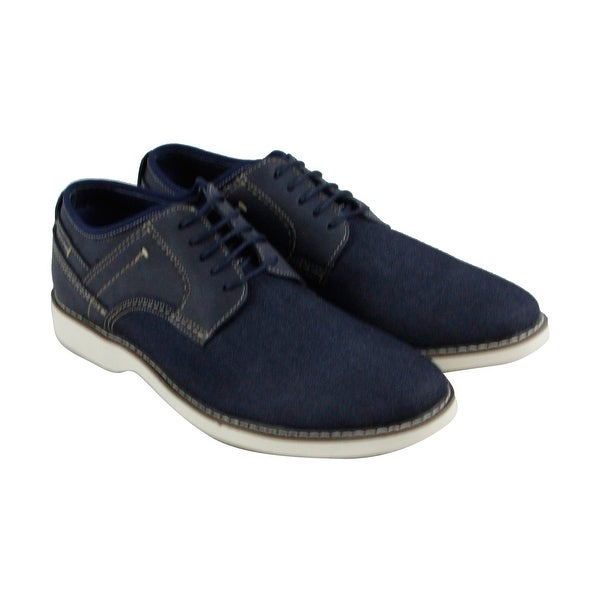 Steve Madden M-Dell6 Mens Blue Canvas Casual Dress Lace Up Oxfords Shoes