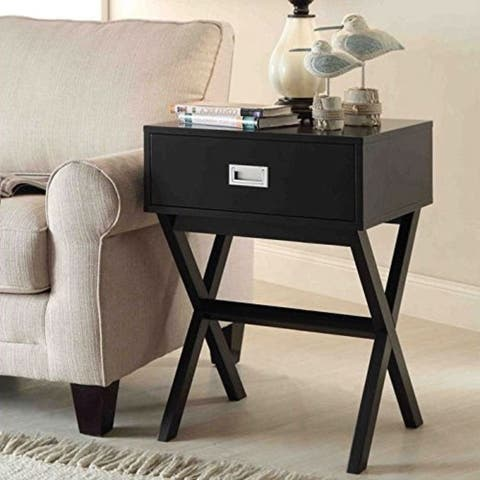 Modern 1-Drawer Bedside Table Nightstand End Table in Black Wood Finish