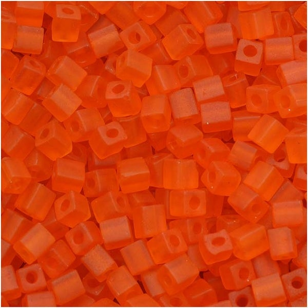 Miyuki 4mm Glass Cube Beads Transparent Matte Bright Sun Orange 138F 10 Grams