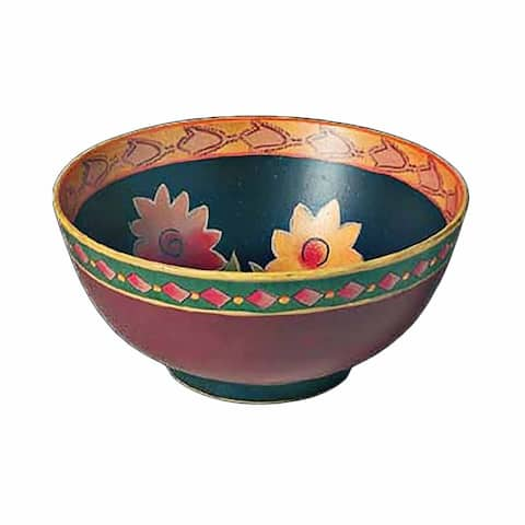 Stoneware Bowl Colorful Green Decorative 4.75 H x 10 D