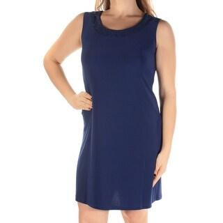 R&M RICHARDS Womens New 1273 Blue Glitter Sleeveless Shift Dress M Petites B+B