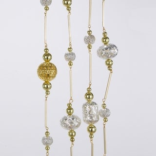 Club Pack of 12 Silver & Gold Metal Beaded Garlands