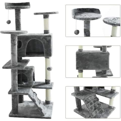 "confote 52"" Cat Tree 2 Condo Kitten Activity Tower"
