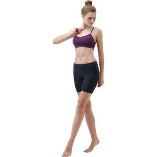 """Tesla FYP11 Women's 7"""" Bike Running Yoga Compression Shorts - Solid Black"""