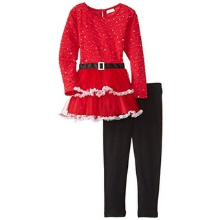 Youngland Textured Embellished Pant Outfit - 4T
