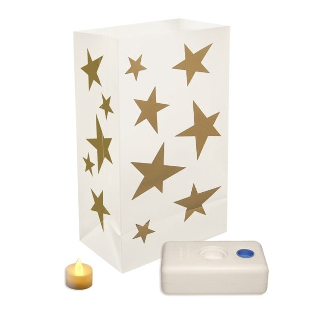 Set of 12 White and Metallic Gold Star Battery Operated LED Luminaria Kit 10 - N/A