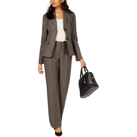 Le Suit Womens Two-Button Pant Suit, Grey, 4P