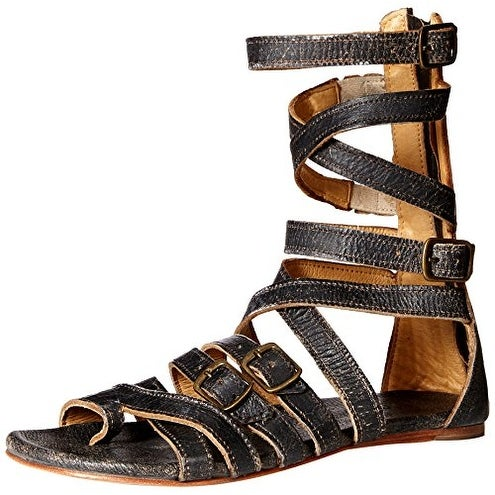 BedStu Women's Seneca Gladiator Sandal, Black Lux, 11 M US