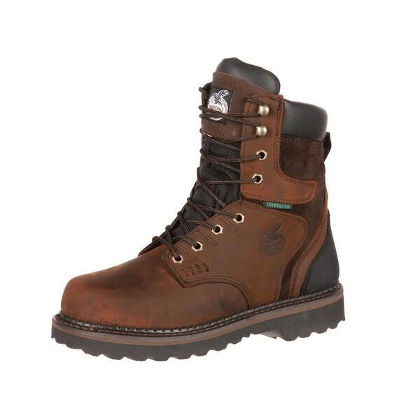 "Georgia Boot Work Mens 8"" Brookville WP Leather Dark Brown"