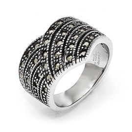 Chisel Stainless Steel Polished and Antiqued Marcasite Ring