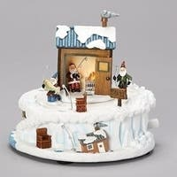 "Set of 2 Christmas LED Lighted Ice Fishing Musical Tabletop Decor 6.5"" - WHITE"