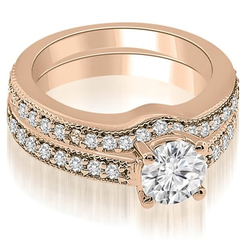 1.29 cttw. 14K Rose Gold Antique Cathedral Round Diamond Bridal Set
