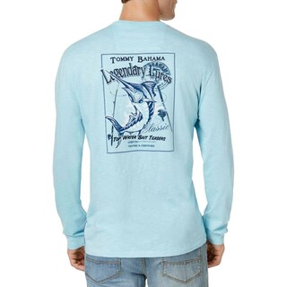 Tommy Bahama Mens Graphic T-Shirt Embroidered Long Sleeves - XL