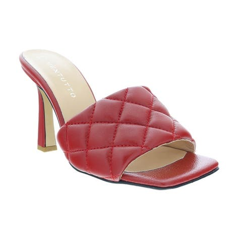 Ventutto Red Quilted High Heel Leather Mule-
