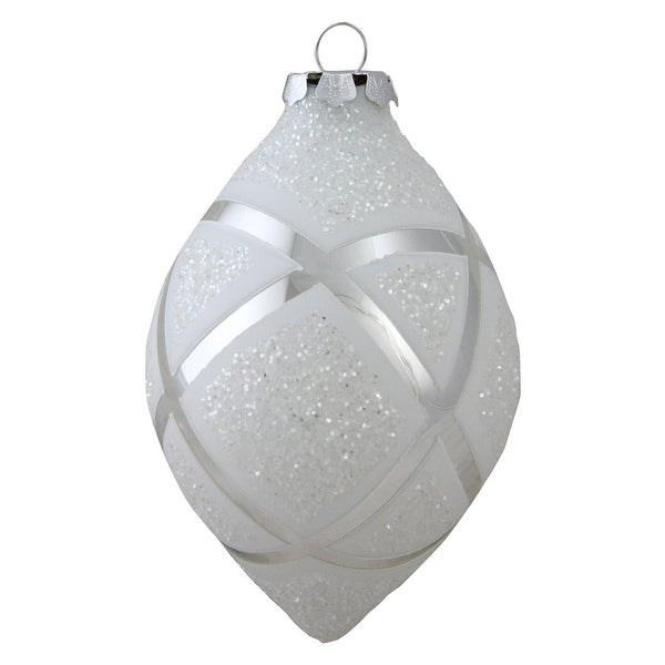 "5.5"" Geometric Glass Christmas Onion Ornament - silver"