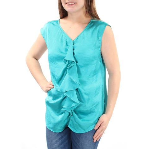 NY COLLECTION Womens Teal Ruffled Cap Sleeve V Neck Top Size: M